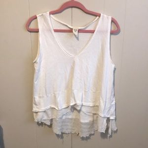 Free People High Low White Tank